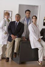 Group of serious medical professionals.