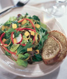 Dinner salad and bread.
